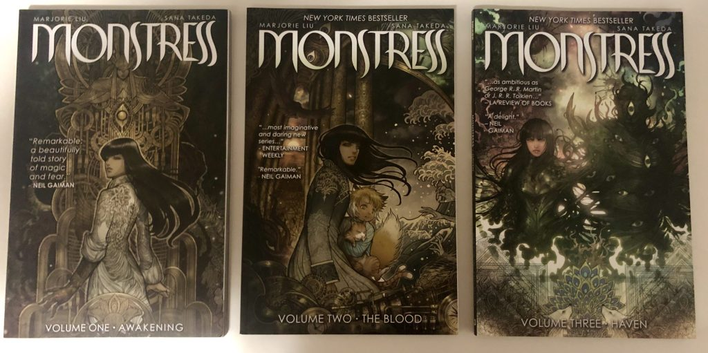 Covers from Monstress Vol 1, 2 and 3 (Writer: Marjorie Liu / Artist: Sana Takeda)