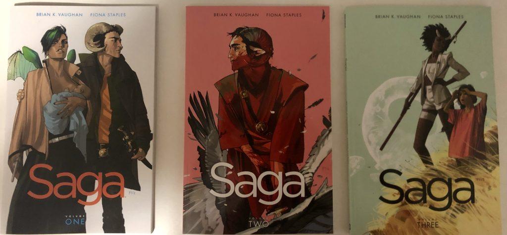 Covers of Saga Vol 1, 2 & 3 (Writer: Brian K. Vaughan / Artist: Fiona Staples)