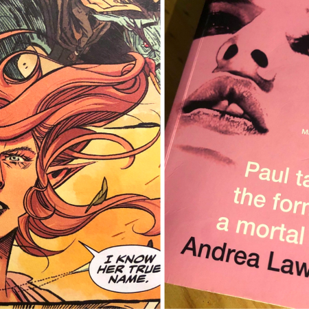 A collage of Nuala from The Dreaming and the cover of Paul takes on the form of a mortal girl